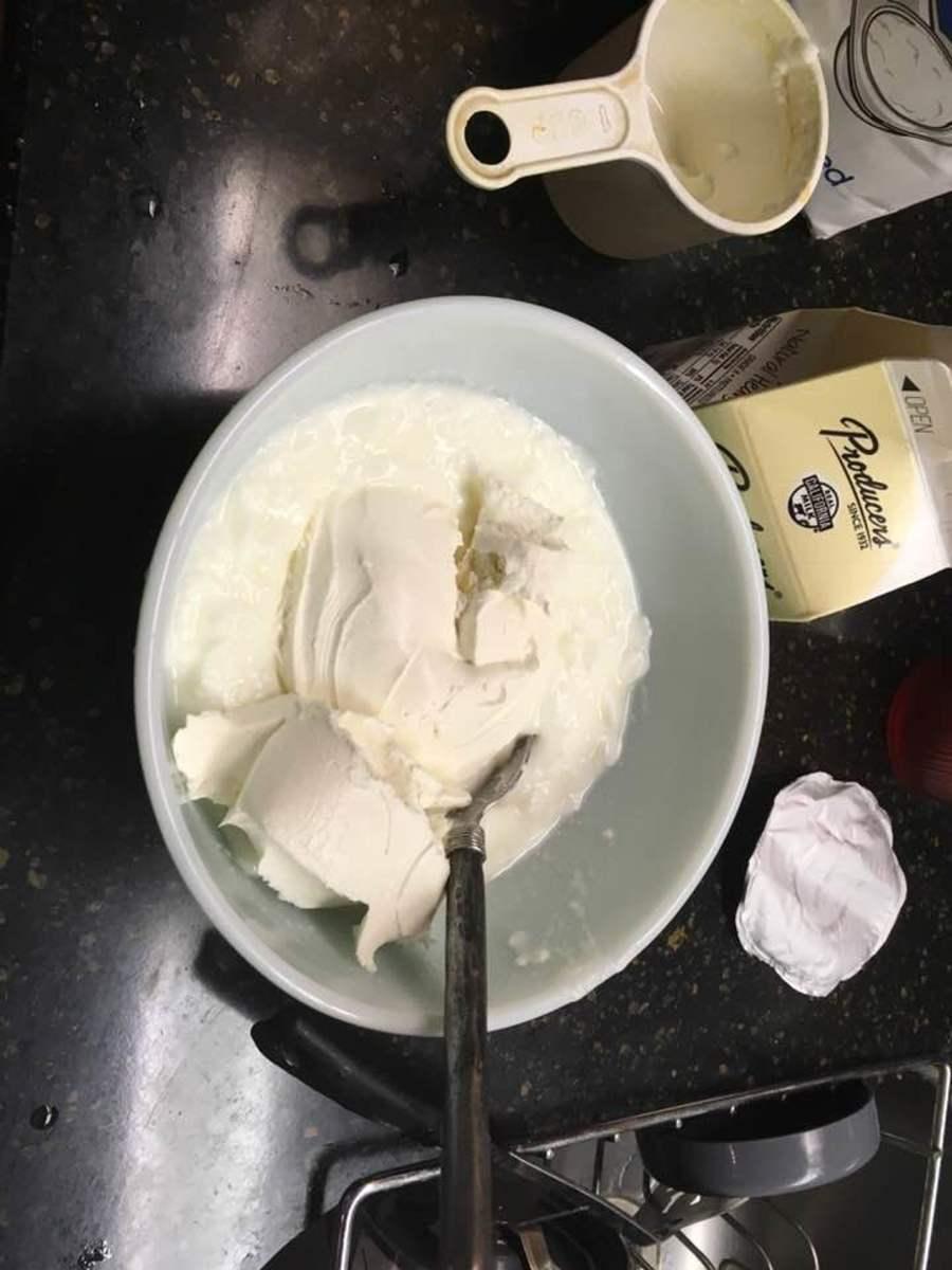 Whisk cream cheese and yogurt together.