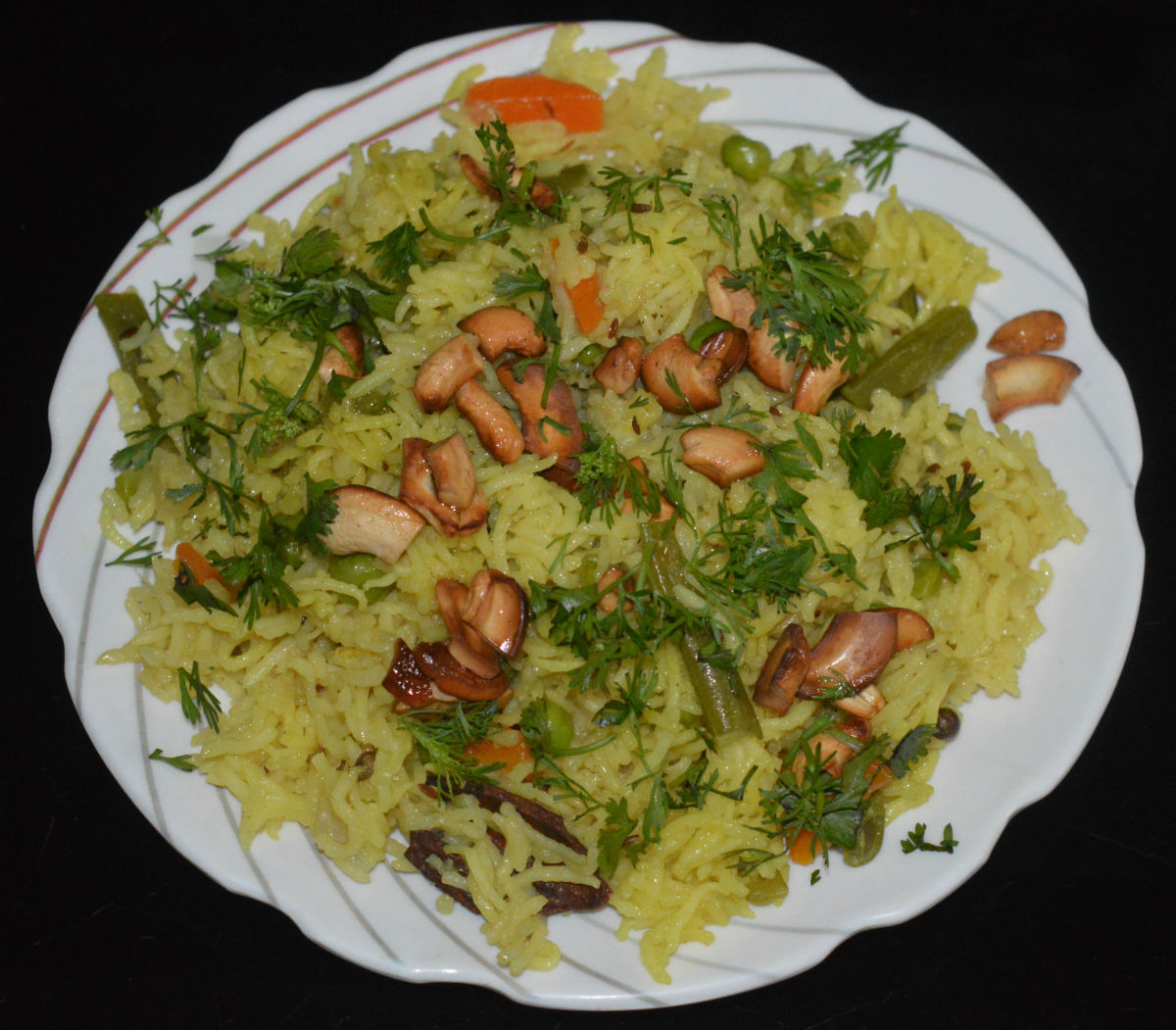 Serve this pulao hot with a spicy sauce or chutney. You can eat it just as is. It's so yummy!