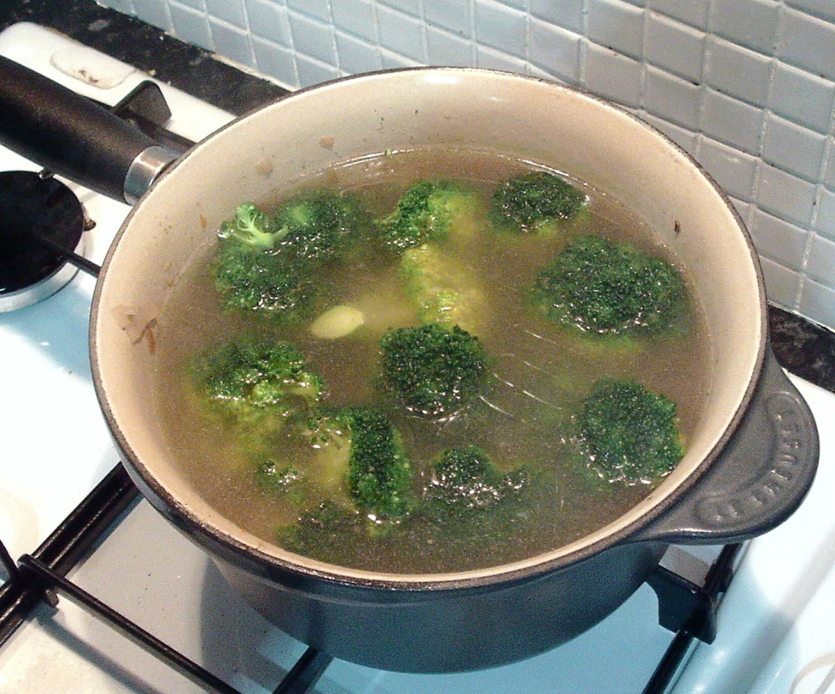 Broccoli is simmered in leftover gravy