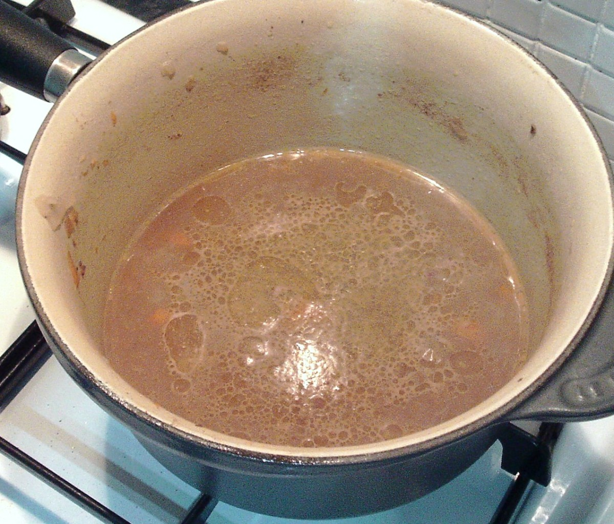 Leftover gravy is put on to reheat