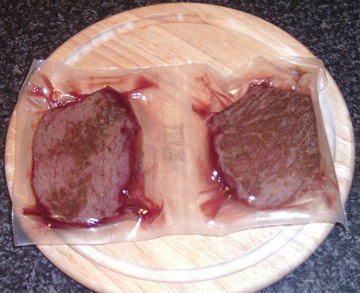 Vacuum packed ostrich fillet steaks