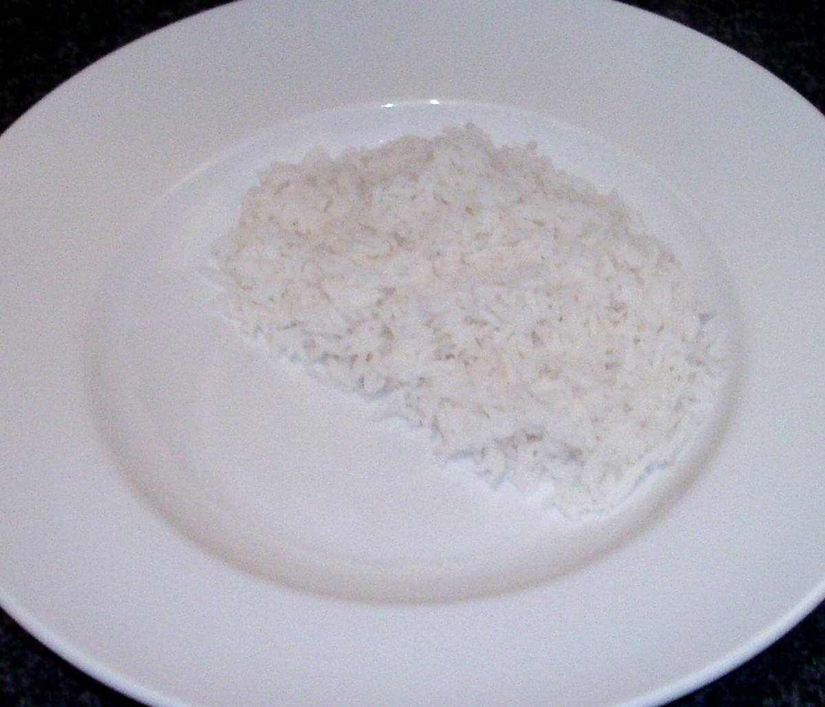 Rice is arranged on serving plate