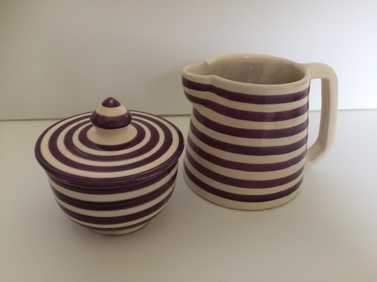 Ceramic​ sugar bowl and milk pitcher from Morocco