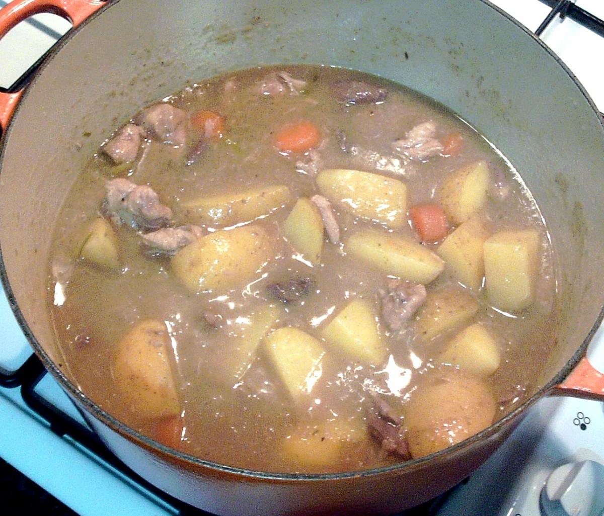 Pheasant, pigeon and woodcock wild game stew is ready to serve