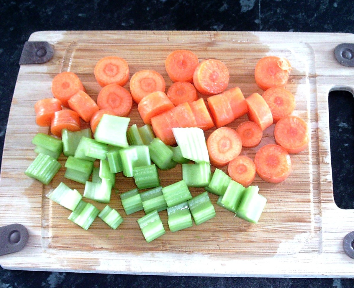 Chopped carrots and celery