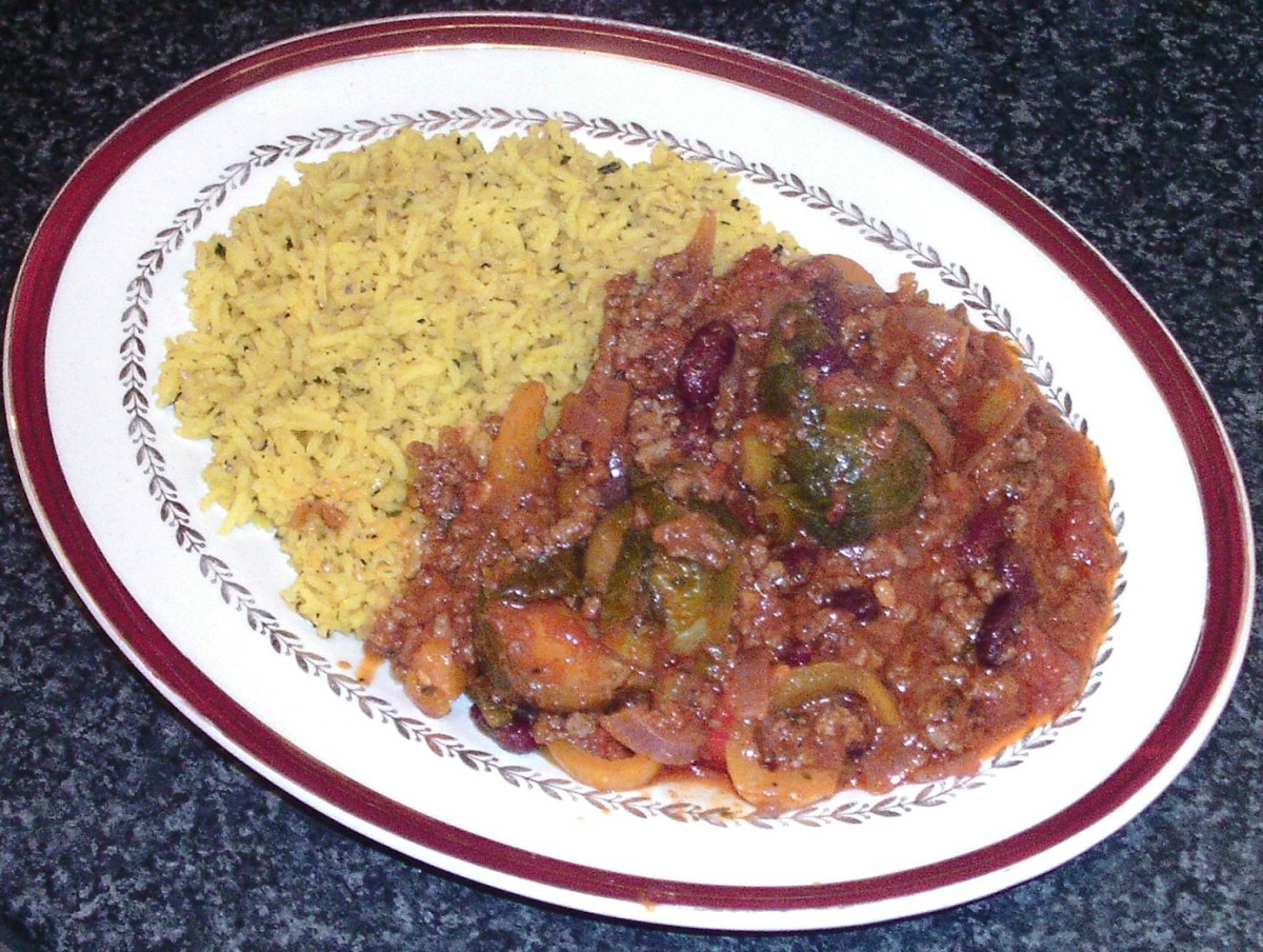 Brussels sprouts chilli is served with a bed of turmeric rice