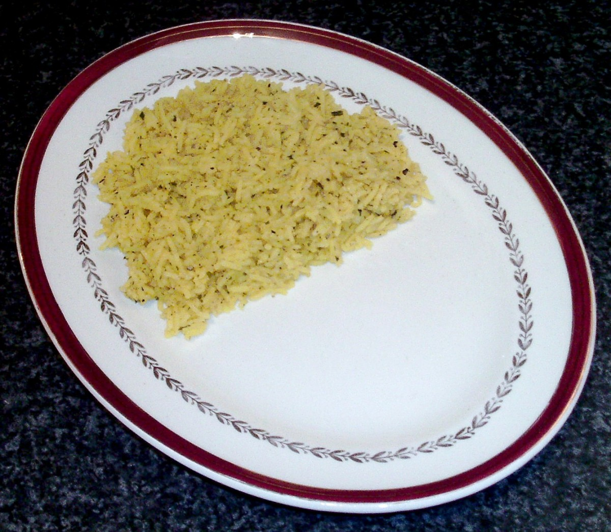 Turmeric rice is plated