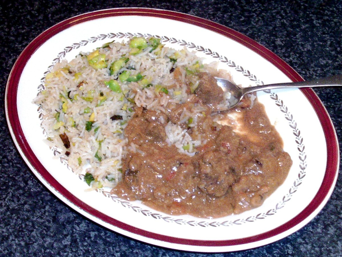 Tucking in to kangaroo rogan josh and Brussels sprouts fried rice