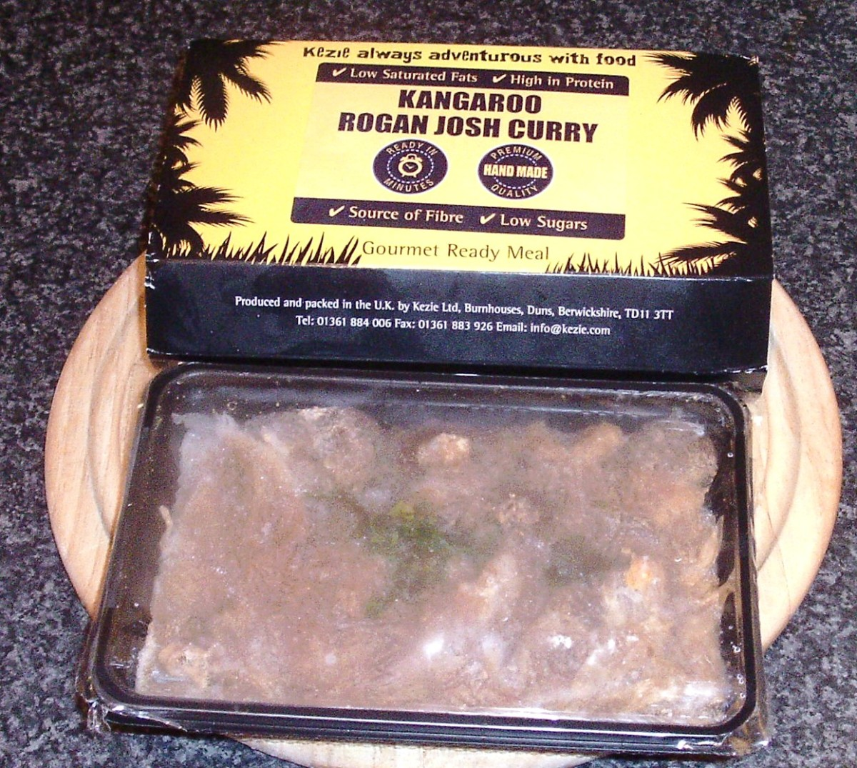 Frozen kangaroo rogan josh ready meal