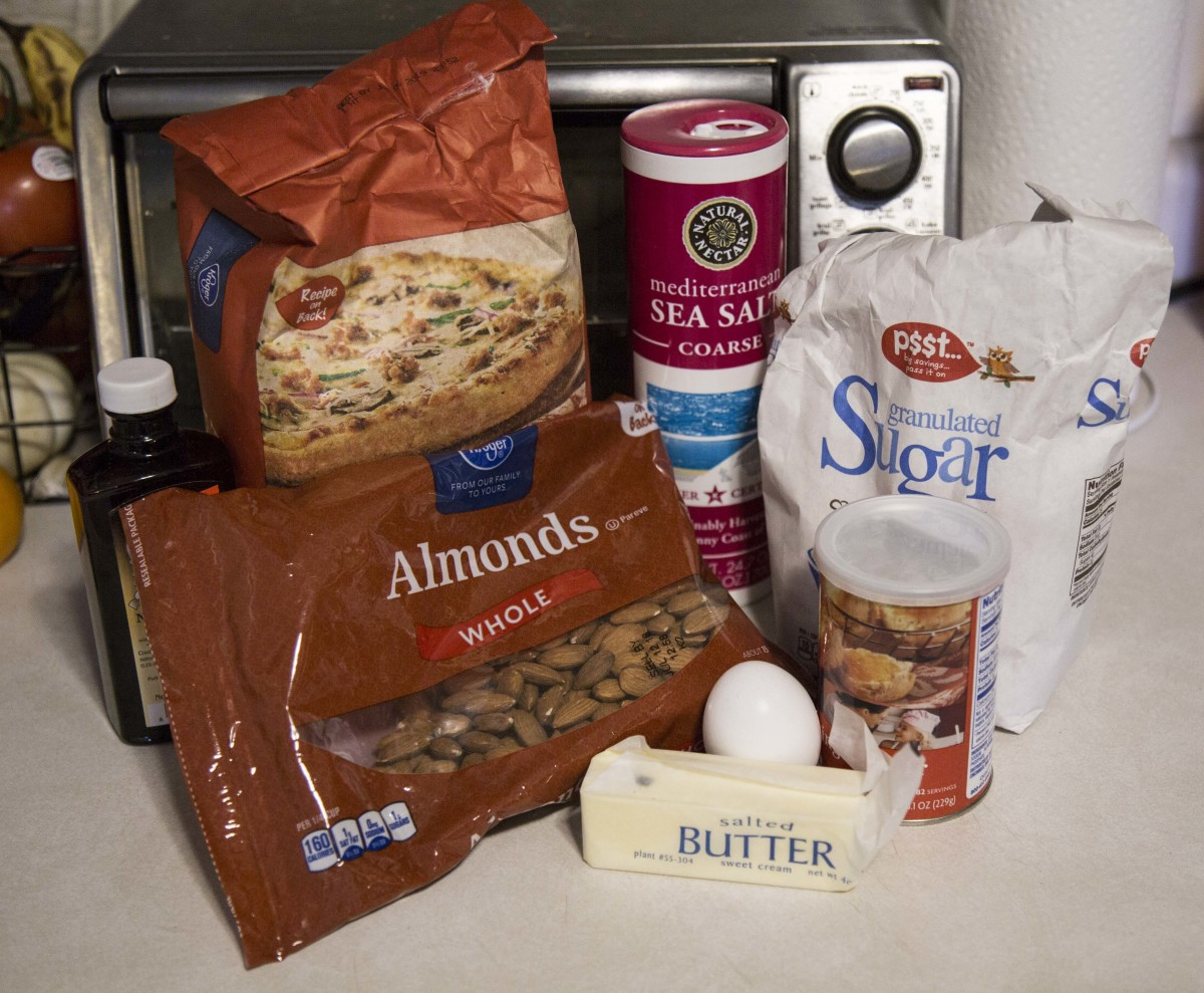 All of the ingredients to make your own almond biscotti.