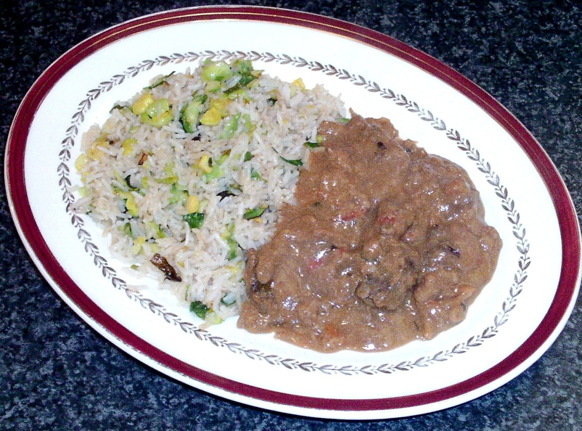 Kangaroo rogan josh ready meal is served with homemade Brussels sprouts fried rice