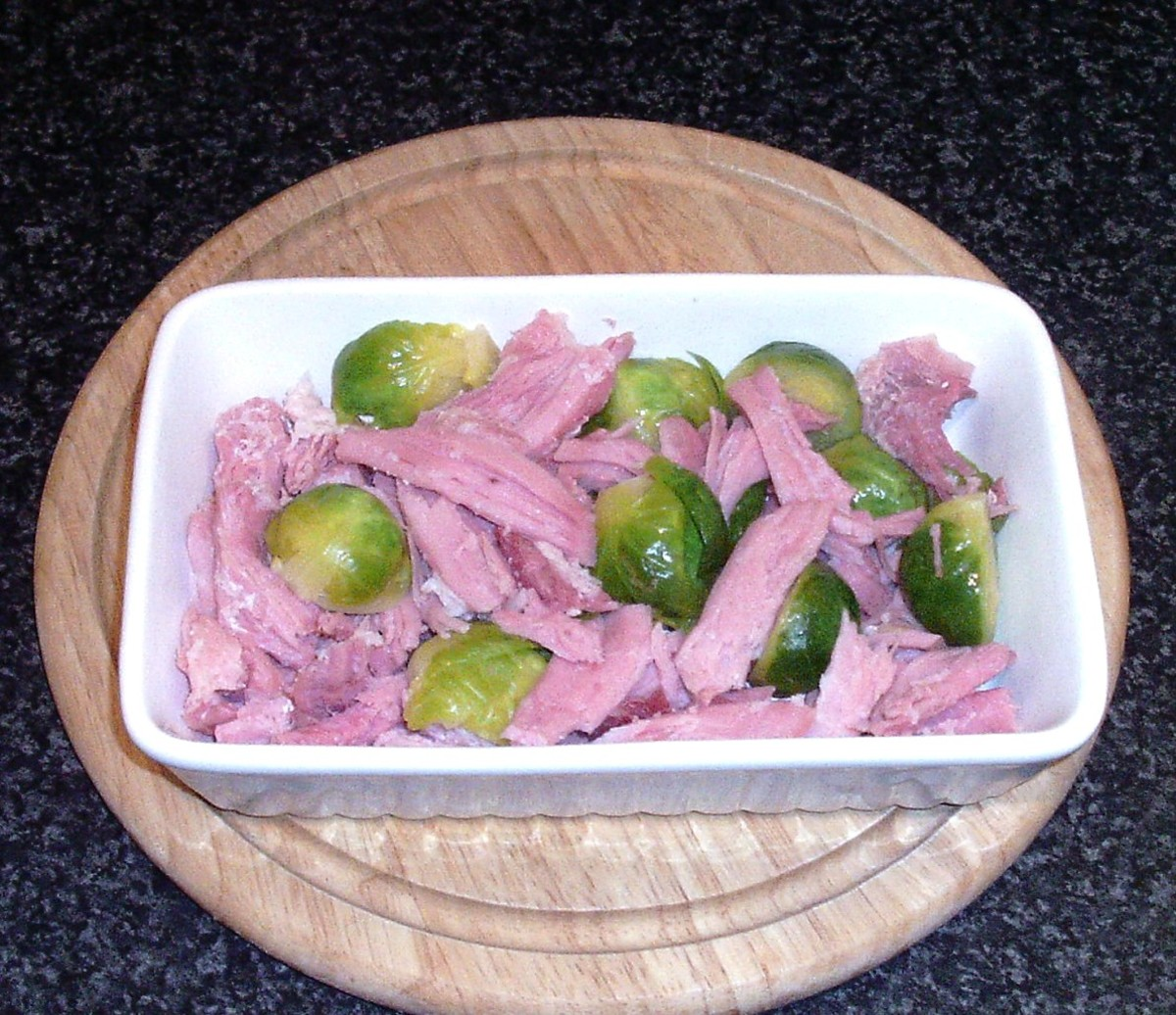 Assembled ham and sprouts