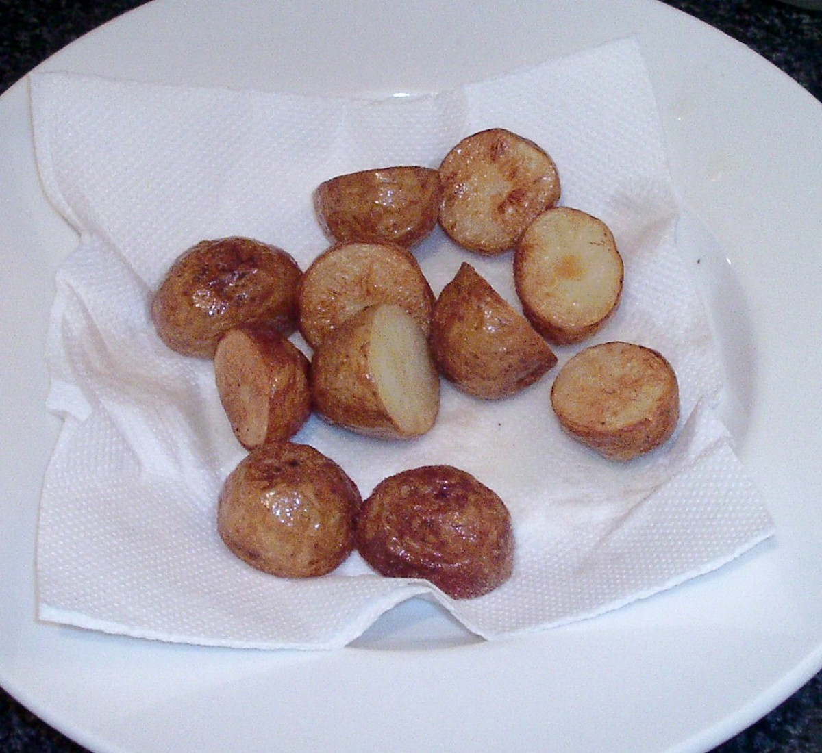 Draining deep fried potatoes