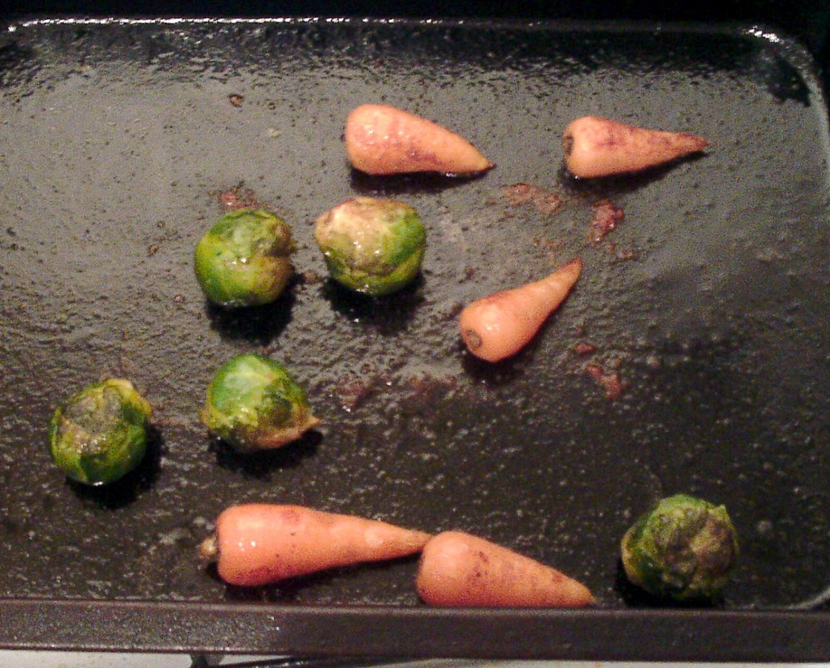 Roasted sprouts and carrots