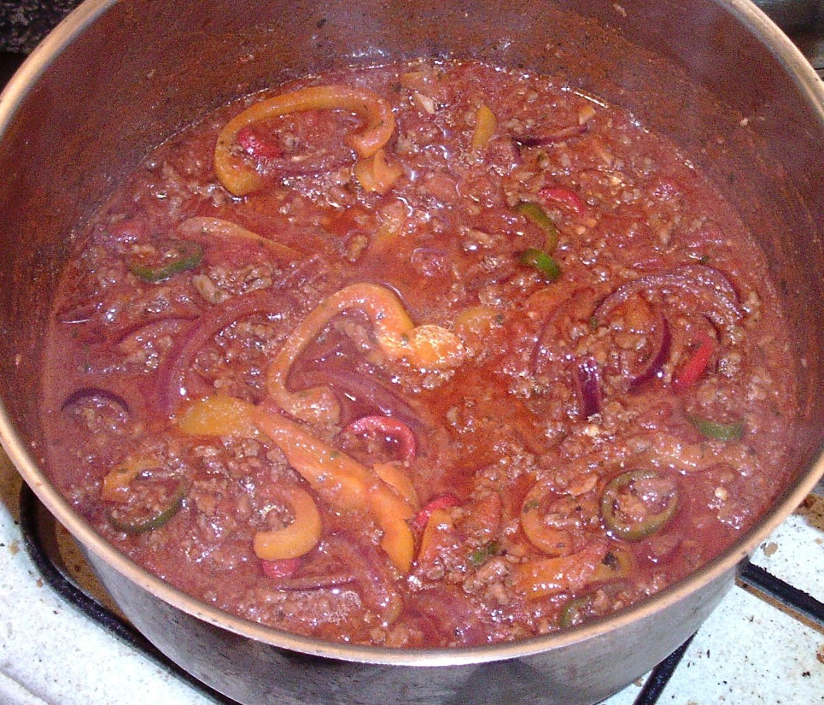 Spicy beef is brought to a simmer