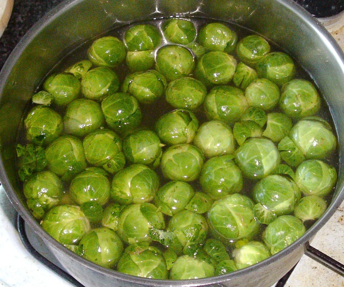 Brussels sprouts are simmered in ham stock