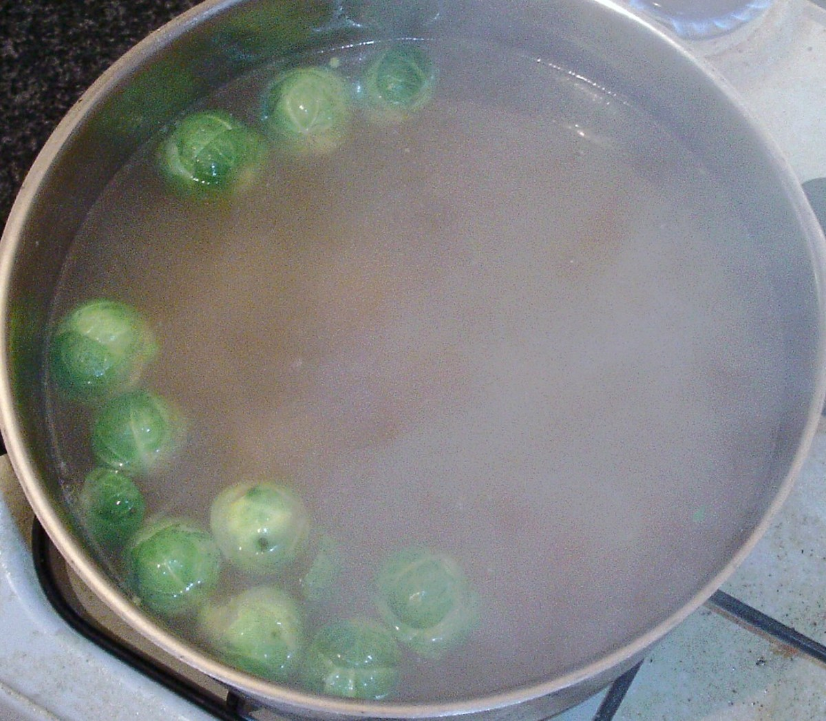 Sprouts added to simmering stock and potatoes