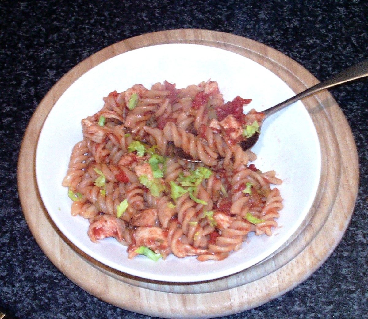 Enjoying chicken and celtuce fusilli pasta