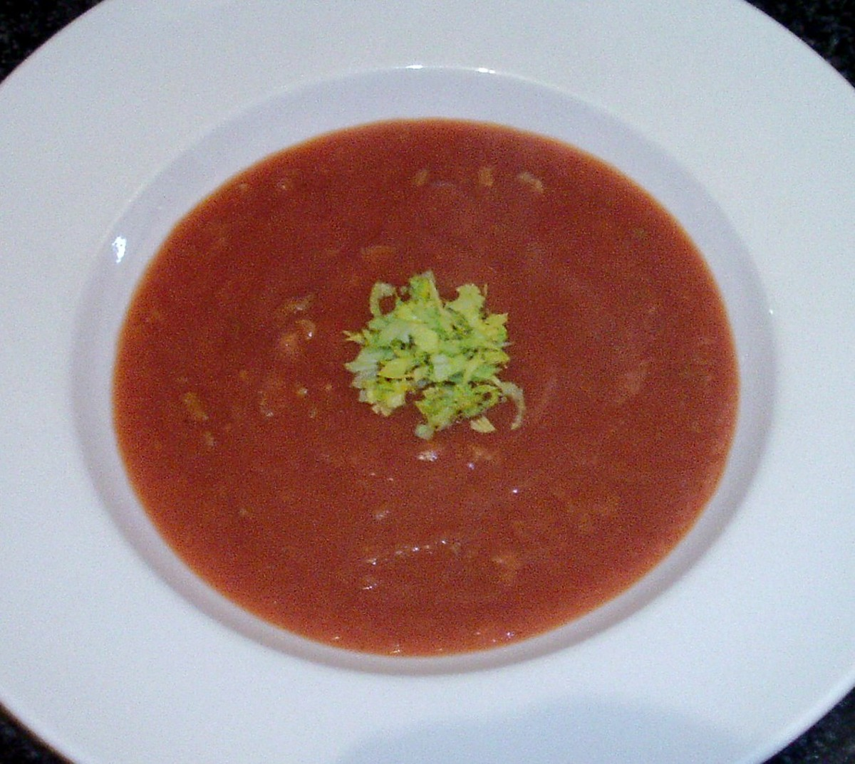 Hot and spicy tomato, Brussels sprouts and celtuce soup