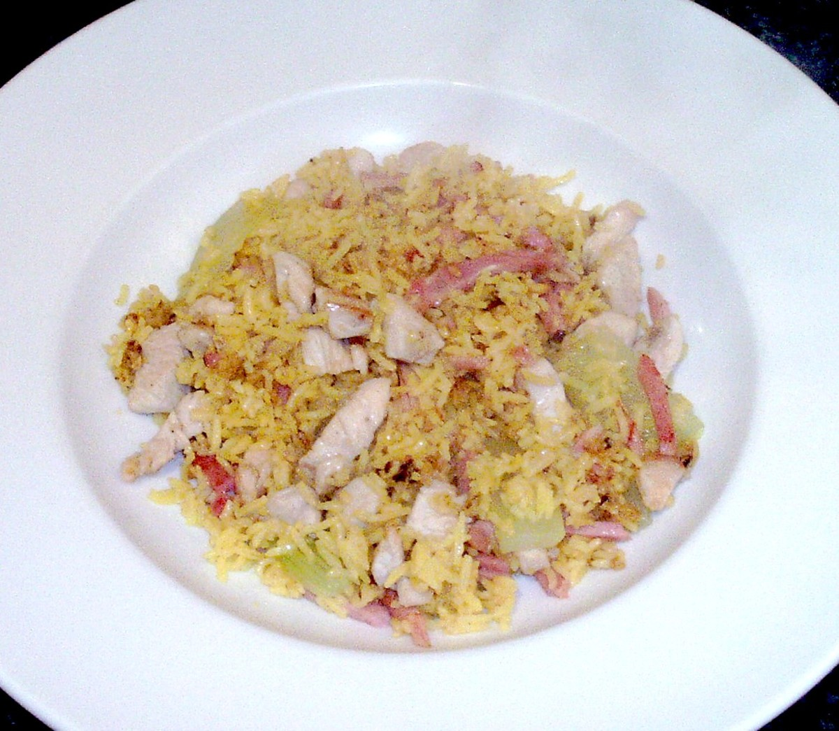 Celtuce, chicken and ham fried rice isplated