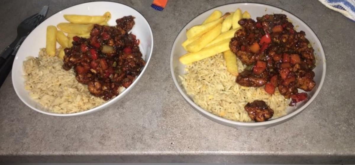 Served alongside rice & chips
