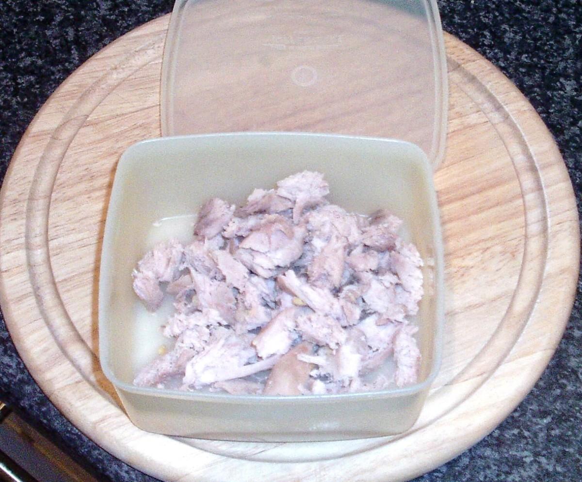 Shredded pheasant breast meat