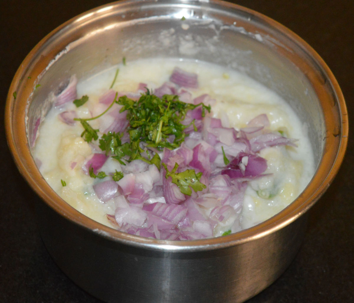 Step two: Add finely chopped onions and chopped fresh coriander leaves. Mix well.