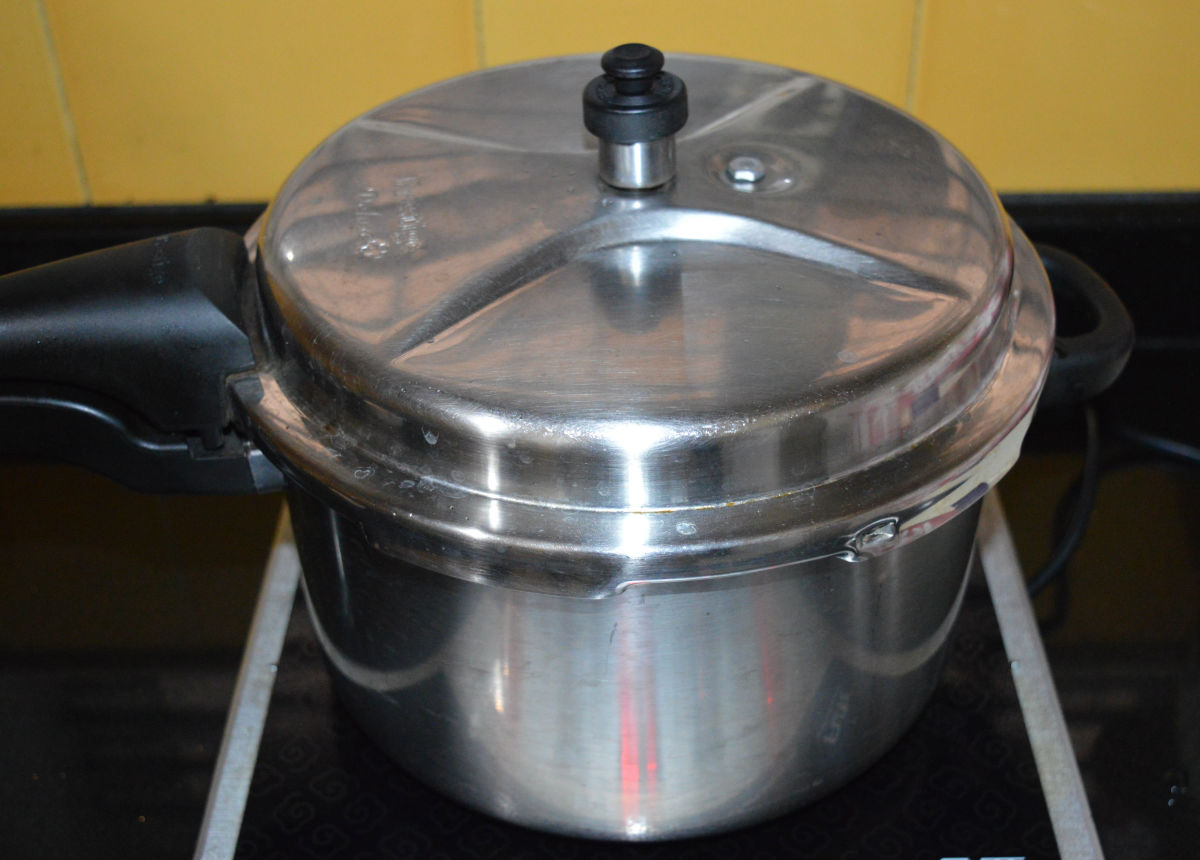 Cook up to a whistle. Simmer for about 6 minutes. Turn off the heat. Open the lid once the entire pressure releases from the cooker naturally.