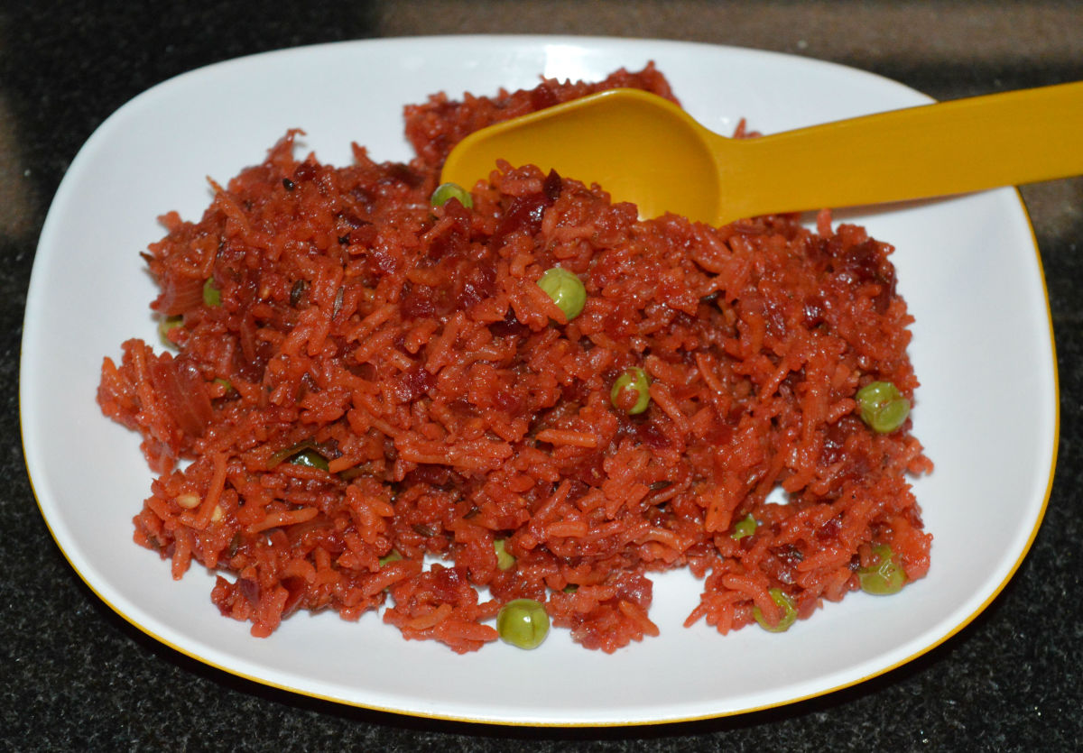 Now, your favorite beetroot pulao is ready to serve!