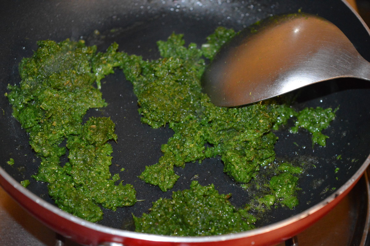 Step four: Add green paste. Saute on a low heat until you get a nice aroma from the paste.