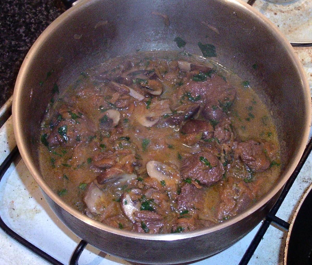 Kangaroo stew is ready to serve