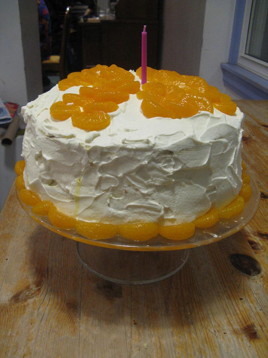 Mandarin orange cake makes for an awesome birthday cake.