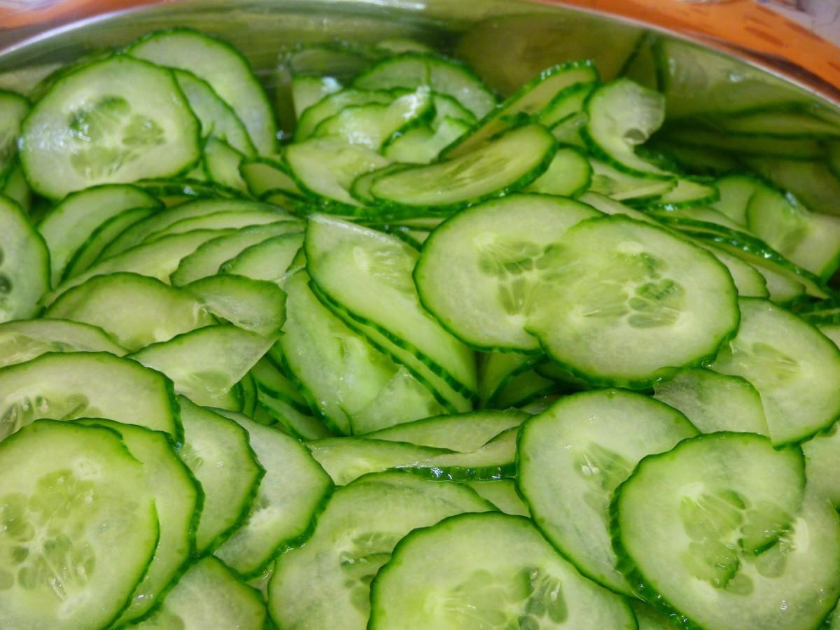 Marinated cucumbers.