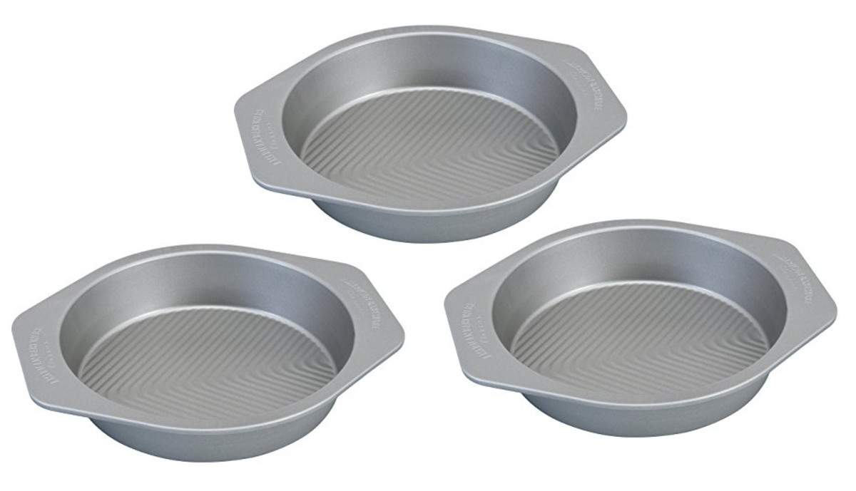 Photo of three aluminized steel cake-baking pans, digitally made by Robert Kernodle from a product photo of one pan