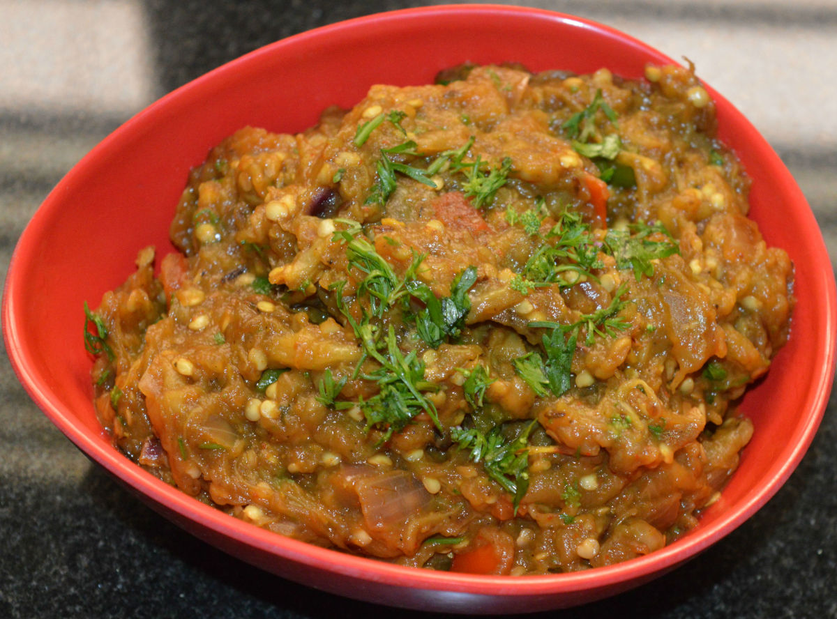 Punjabi baingan bharta or a spicy eggplant curry