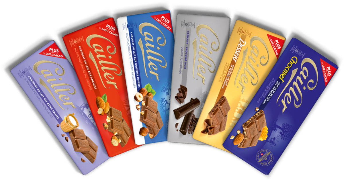 Cailler selection (left to right) Milk, Almond, Hazel nut, Dark, Praline, & Caramel