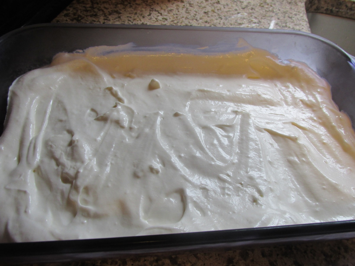 1st layer, cream cheese mixture.