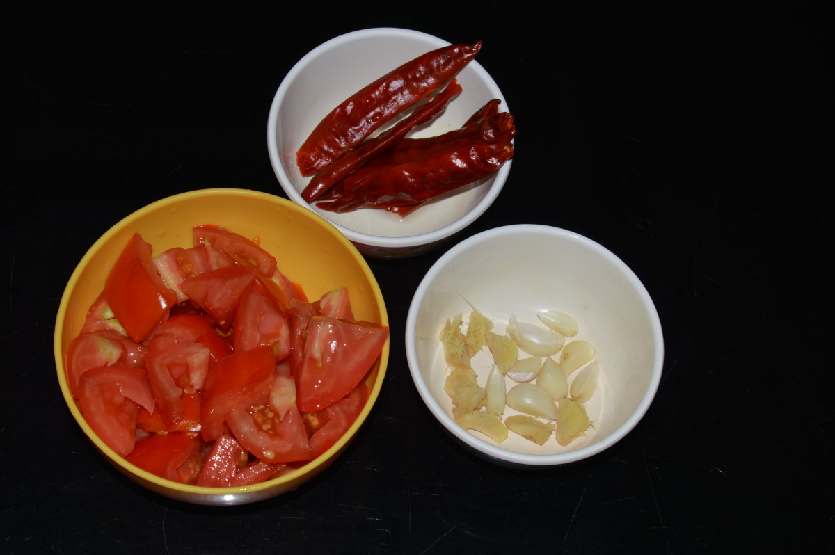 Step one: Soak hot red chilies in water for 8 hours. Next, discard the water. Gather all other ingredients as per the list.