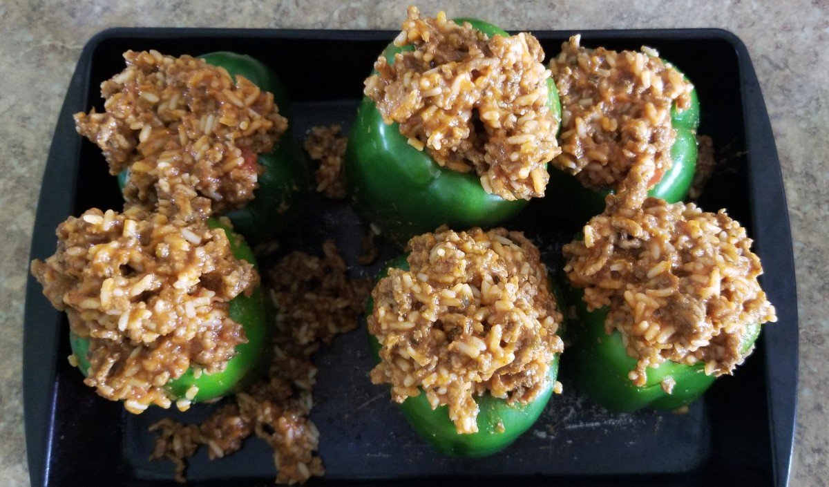 Generously fill each pepper with beef and rice mix.