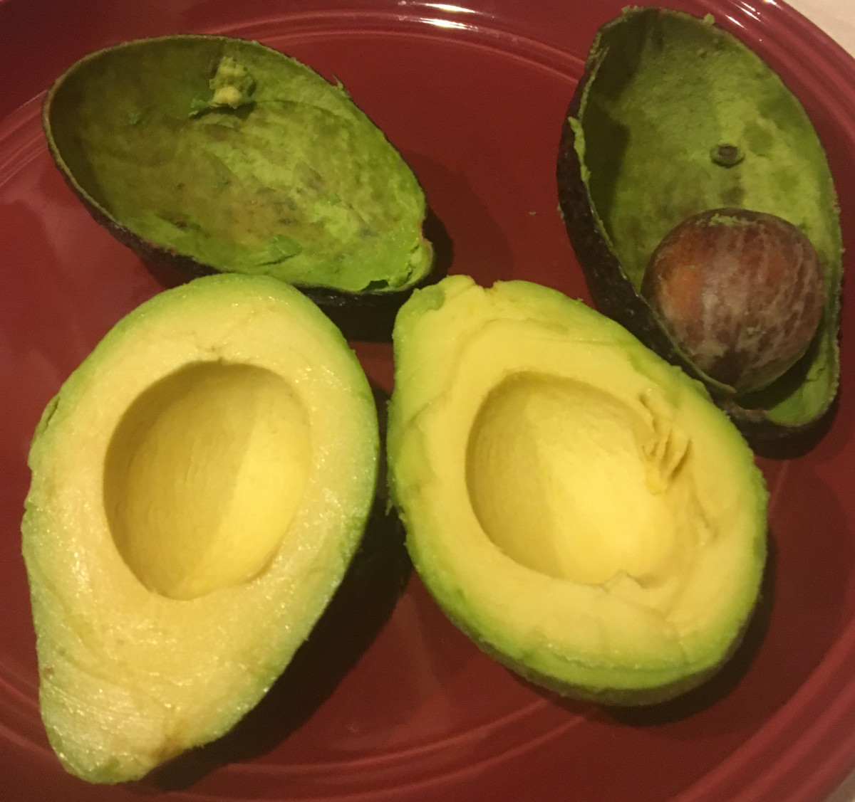 Avocado skin and stone completely removed from flesh