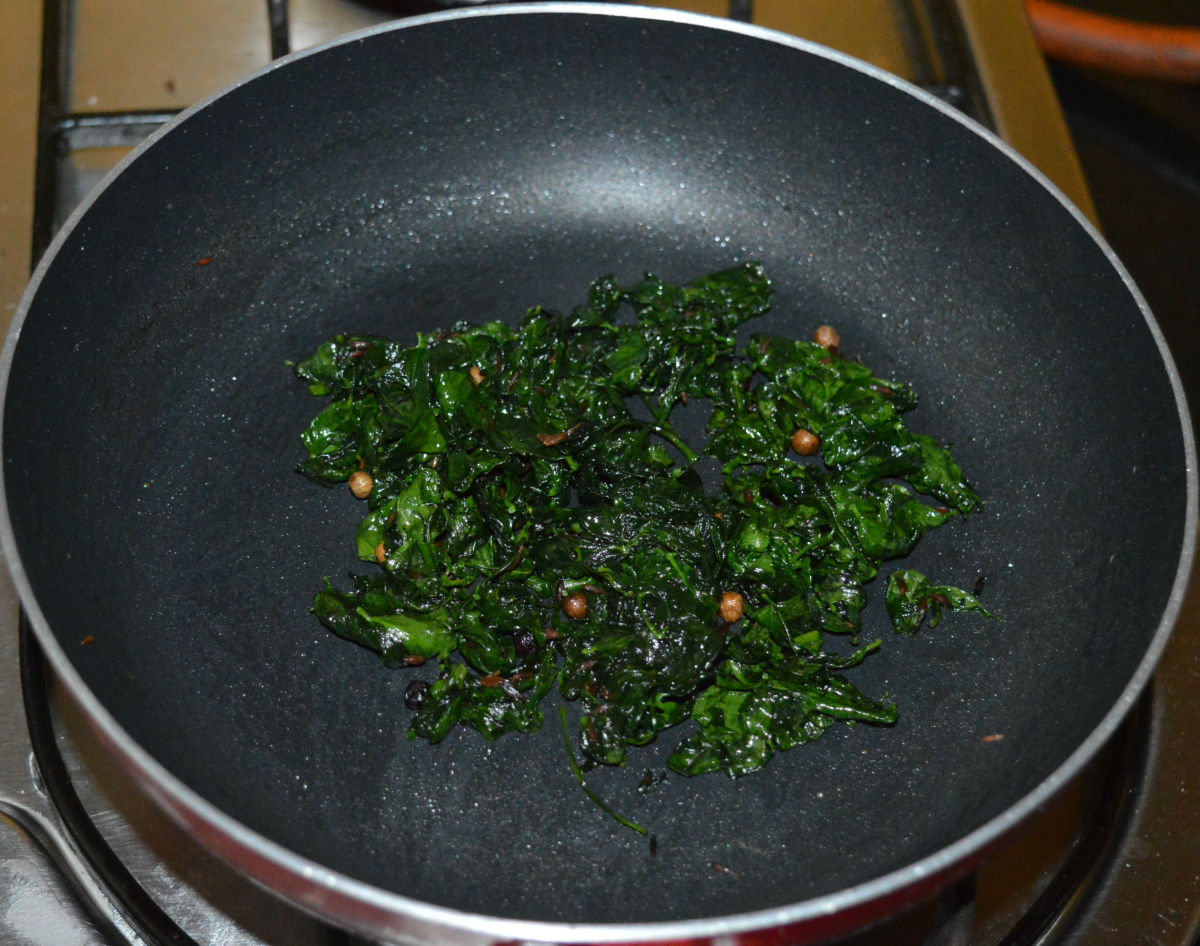leafy greens in a pan