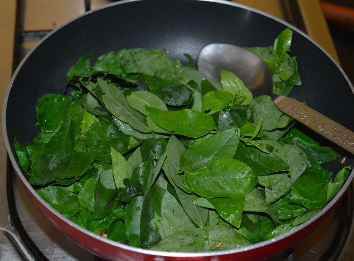Step three: Add leafy greens and some salt. Saute until the greens cook. You can sprinkle a few drops of water to keep them moist.