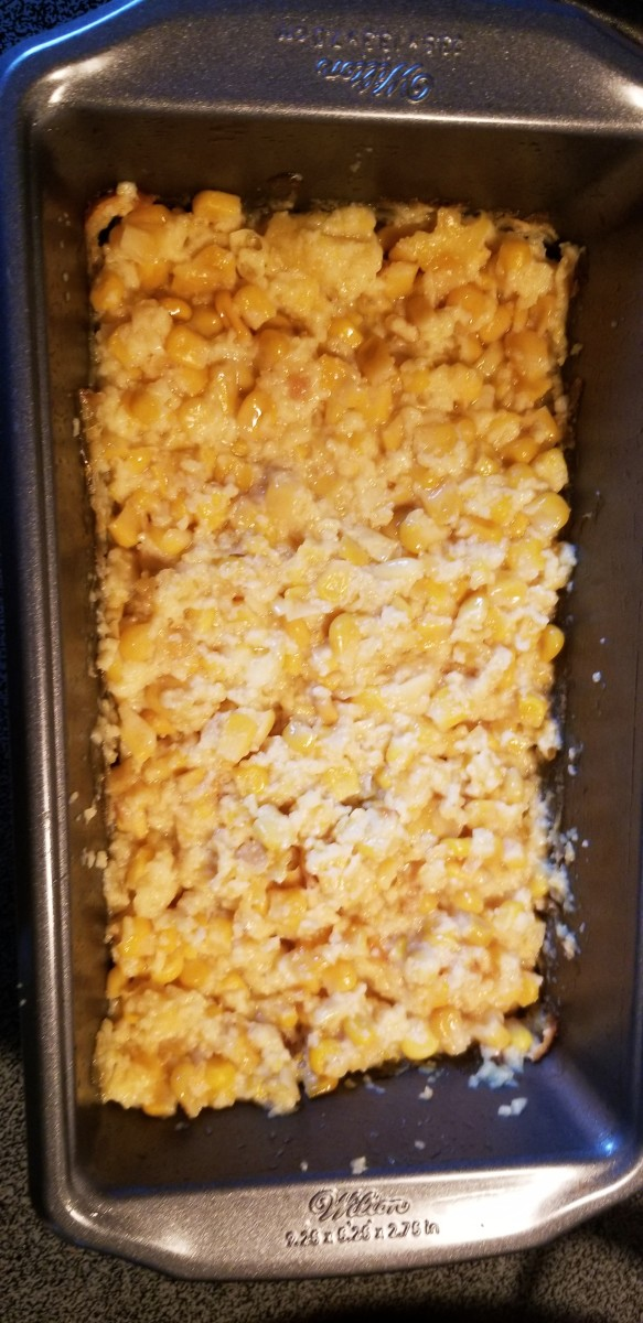 Stir corn pudding. Add an additional 2 teaspoons of granulated sugar, mixing well. Bake for another 30 minutes.