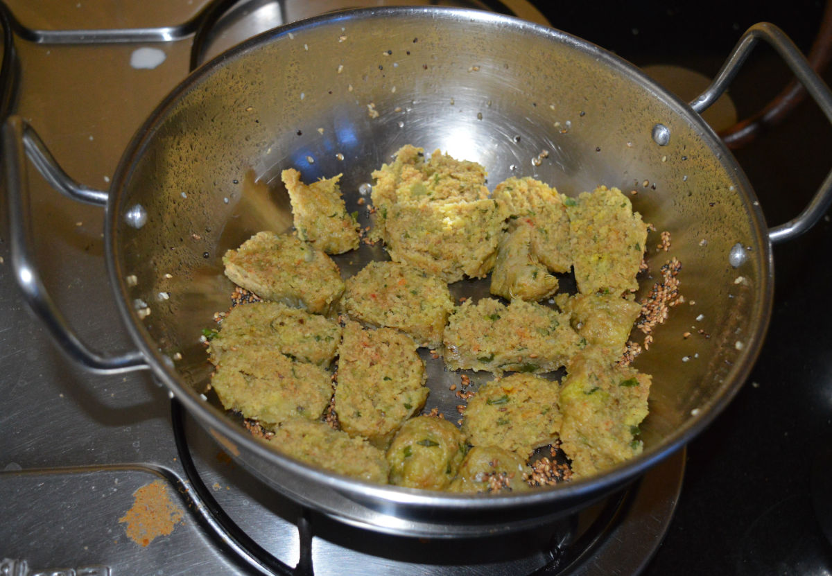 Bottle Gourd muthia are ready. Garnish them with chopped coriander leaf.