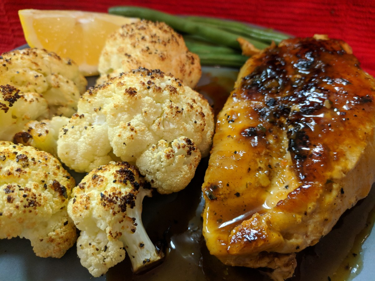 Apricot Sherry Chicken With Roasted Lemon Pepper Cauliflower