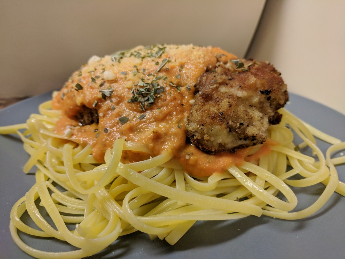 Chicken and Tomato Butter Sauce With Parmesan Pasta