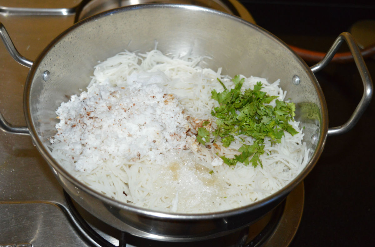 Step three: Turn off the heat. Add grated coconut, chopped coriander leaves, sugar, salt, and lemon juice. Mix well.