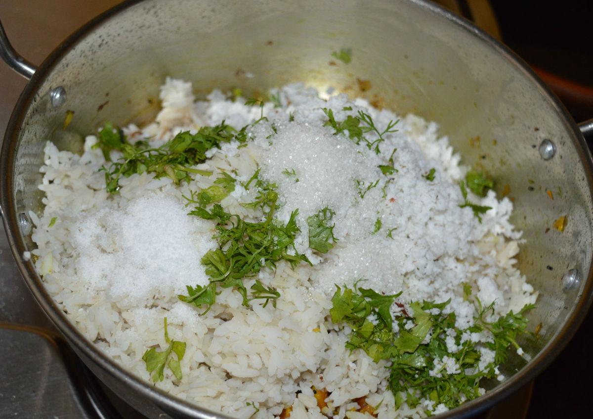 Step seven: Add beaten rice, grated coconut, sugar, salt, lemon juice, and chopped coriander leaves. Keep the heat minimum.
