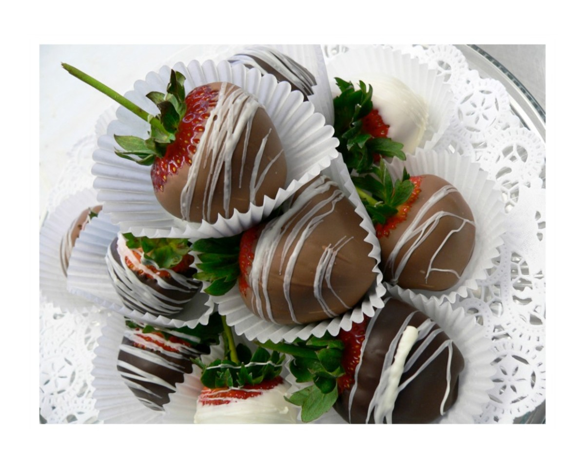 Semisweet chocolate-dipped strawberries with a thin white drizzle