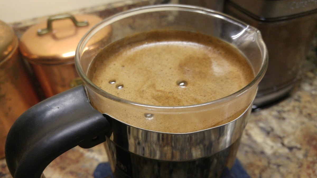 A nice layer of froth on top is a good indication of a well-made French press coffee.